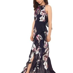 Betsy & Adam Pleated Floral-Print Gown Navy/Pink
